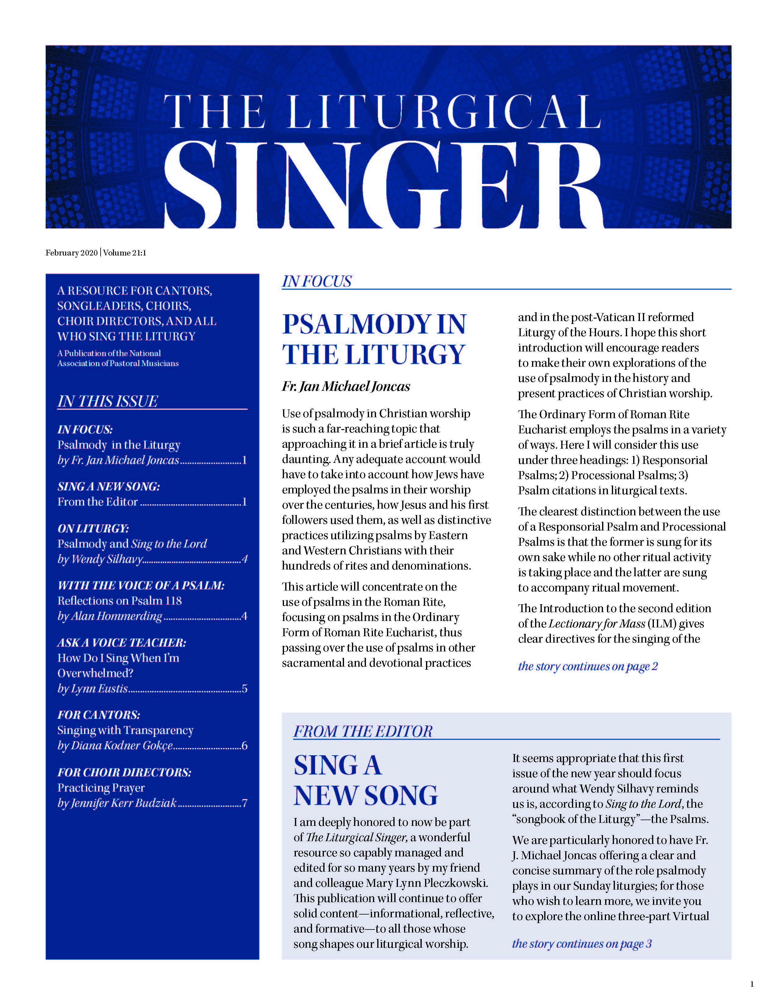 Liturgical Singer Feb Issue
